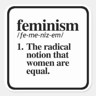 Feminismus-Definition - der radikale Begriff der Quadratischer Aufkleber