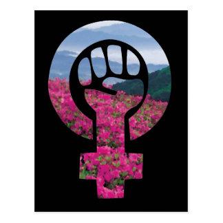 Feministische mit Blumenfaust Postkarte