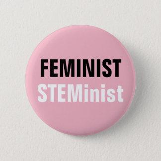 Feministischer STEMinist Knopf-Rosa STAMM Runder Button 5,7 Cm