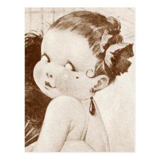 Femme Fatale mit ägyptischem Feder-Fan Postkarte