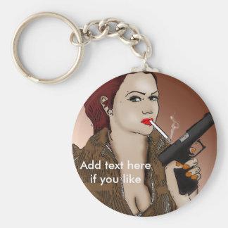Femme Fatale - Rauchen und Gewehr-Schlüsselkette Schlüsselanhänger