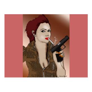 Femme Fatale - Rauchen und Gewehre Postkarte