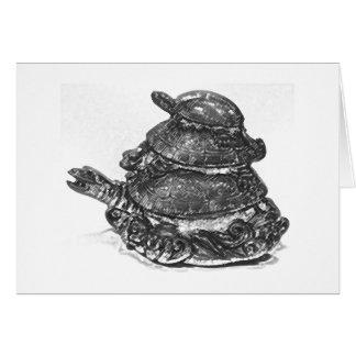 Feng Shui dreifache Schildkröte - B&W Karte