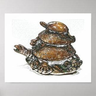 Feng Shui dreifache Schildkröte - Gold Poster