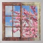 Fenster-Kirschblüten-Baum Poster
