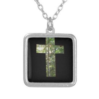 Fenster-Kreuz Versilberte Kette