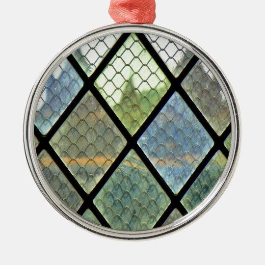 Fenster-Kunst Rundes Silberfarbenes Ornament