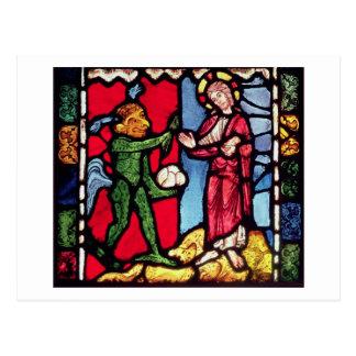 Fenster von Troyes-Kathedrale, die das Temptatio Postkarte