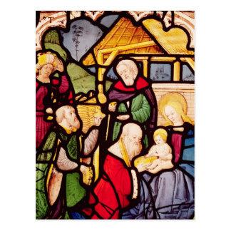 Fenster, welches die Verehrung der Weisen Postkarte