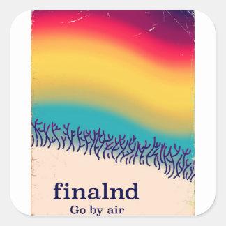 """Ferien""""Regenbogen"""" Plakatdruck Finnlands Retro Quadratischer Aufkleber"""
