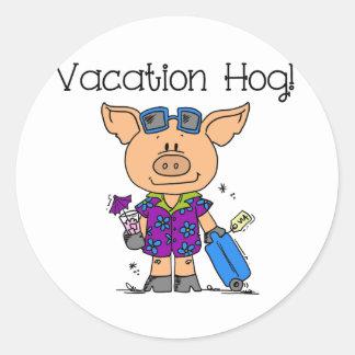 Ferien-Schwein Runder Aufkleber