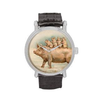 Ferkel nehmen eine Fahrt - Spaß Vintage Uhr