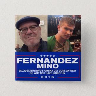 Fernandez-Mino Kampagnen-Knopf Quadratischer Button 5,1 Cm
