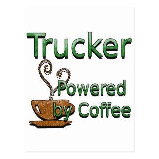 Fernlastfahrer angetrieben durch Kaffee Postkarte