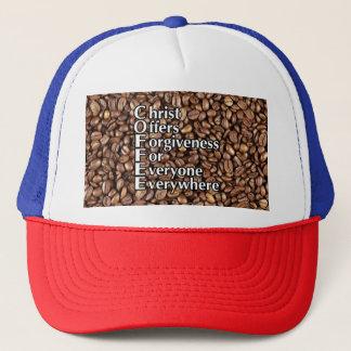 Fernlastfahrer-Hut Kaffeebohnen Christus bietet Truckerkappe