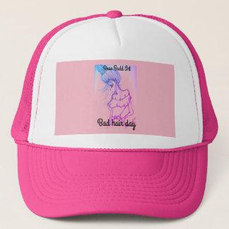 trucker hat,pink,bad hair day