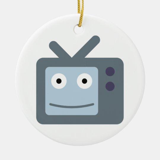 Fernseher TV television set Rundes Keramik Ornament