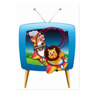 Fernsehschirm mit Tieren auf dem rollercoaste Postkarte