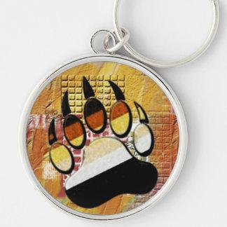 Fertigen Sie Bärenpranke rundes keychain Schlüsselanhänger