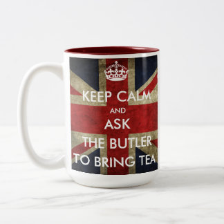 Fertigen Sie behalten Ruhe und fragen, um Tee zu h Teehaferl