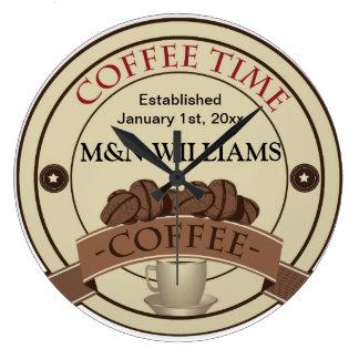 Fertigen Sie Ihr Namenskaffee-Zeit-Logo besonders Große Wanduhr
