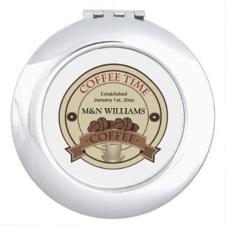 Fertigen Sie Ihr Namenskaffee-Zeit-Logo besonders Taschenspiegel