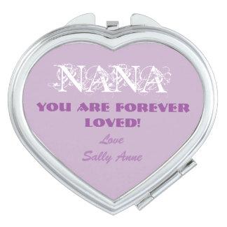 Fertigen Sie niedlichen kompakten Spiegel für Nana Taschenspiegel