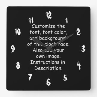 Fertigen Sie Schriftart, Schriftart-Farbe, Quadratische Wanduhr