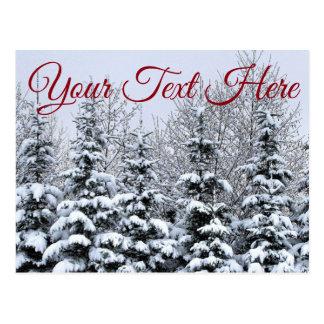 Fertigen Sie, Snowy-Baum-Postkarte besonders an Postkarte