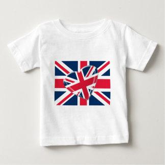 Fesches Gewerkschafts-Jack-Herz und Flaggen-Kunst Baby T-shirt