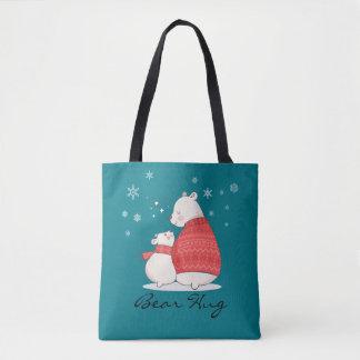 Feste Umarmung 2 - Bären, Herzen und Schneeflocken Tasche