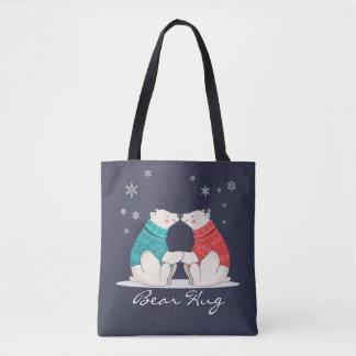 Feste Umarmung 3 - Bären, Herzen und Schneeflocken Tasche