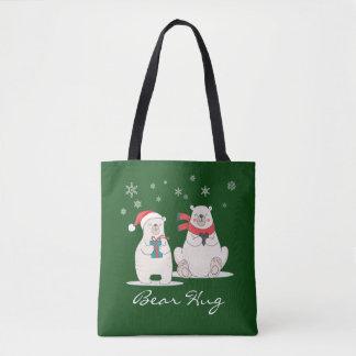 Feste Umarmung 4 - Bären, Herzen und Schneeflocken Tasche