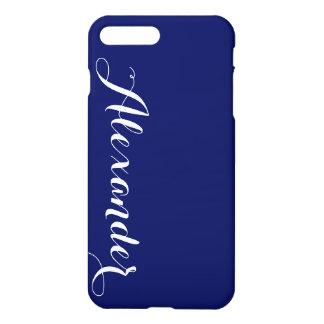 Fester Marine-Blau-Hintergrund, Namensmonogramm iPhone 8 Plus/7 Plus Hülle