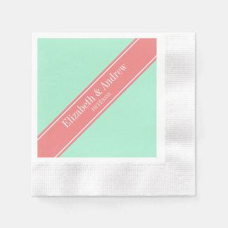 Festes lt Mint, lt Coral Ribbon Name Monogram Serviette