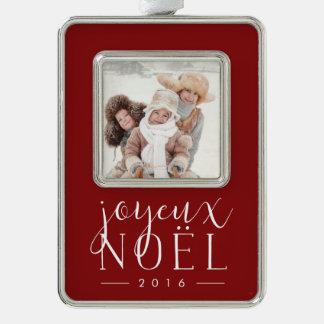 Festliche Art | Joyeux Weihnachten-Foto Rahmen-Ornament Silber