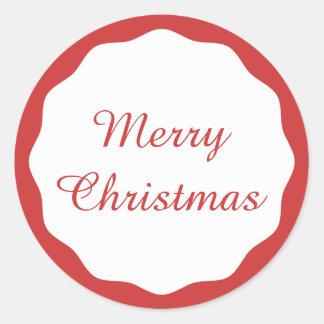 Festliche einfache frohe Weihnacht-rote Runder Aufkleber