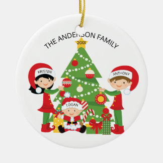 Festliche Familie personalisierten Weihnachten 3 Keramik Ornament