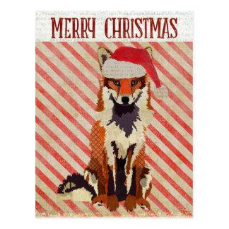 FESTLICHE FUCHS Zuckerstange-Postkarte Postkarte