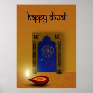 Festliche glückliche Diwali Feuerwerke - Poster