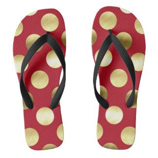 Festliche Goldfolien-Tupfen rot Flip Flops