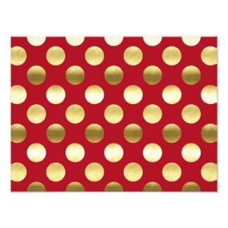 Festliche Goldfolien-Tupfen rot Fotodruck