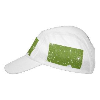 Festliche grüne Feiertags-Schneeflocken Headsweats Kappe