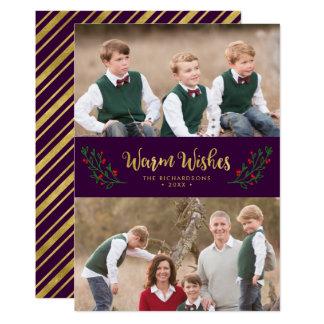 Festliche Laub-warme Wunsch-lila Feiertags-Foto 12,7 X 17,8 Cm Einladungskarte