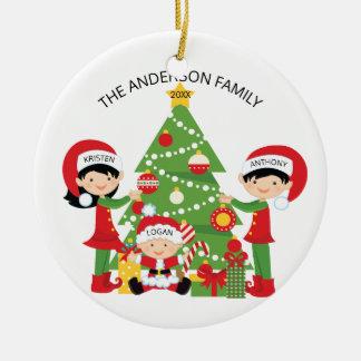 Festliche niedliche Familie personalisierten Keramik Ornament