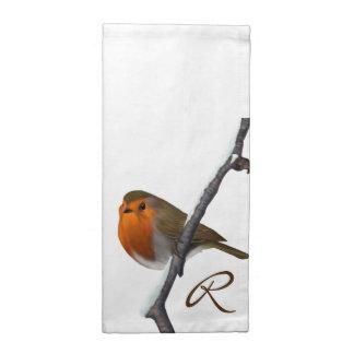 Festliche Robin-Monogramm-Stoff-Servietten Stoffserviette