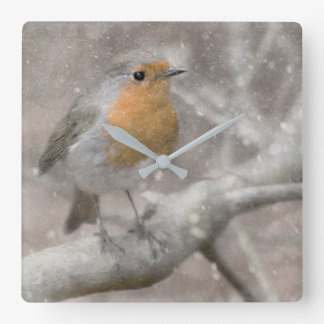 Festliche Robin-Uhr Quadratische Wanduhr