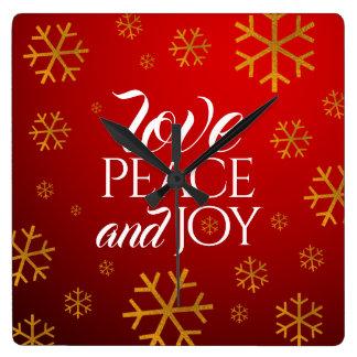 Festliche rote Liebe, Frieden und Freude mit Quadratische Wanduhr
