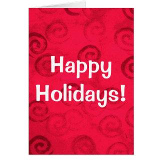 """Festliche rote Spiralen """"frohe Feiertage """" Grußkarte"""