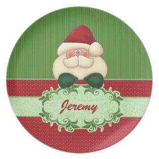Festliche Sankt im roten und grünen Weihnachten Melaminteller